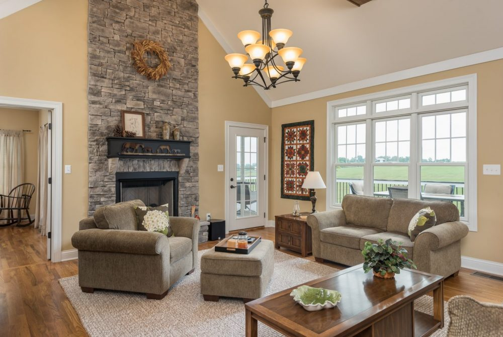 Open Living Room with Stone Fireplace